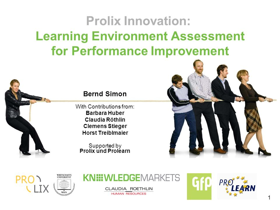 1 Prolix Innovation: Learning Environment Assessment for Performance Improvement Bernd Simon With Contributions from: Barbara Huber Claudia Röthlin Clemens Stieger Horst Treiblmaier Supported by Prolix und Prolearn