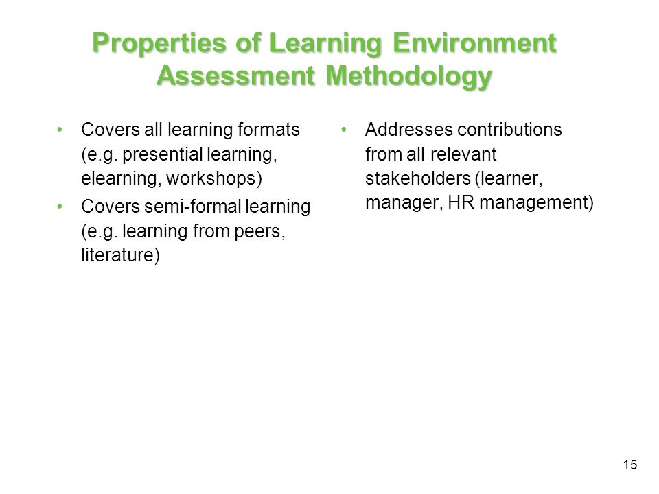 15 Properties of Learning Environment Assessment Methodology Covers all learning formats (e.g.