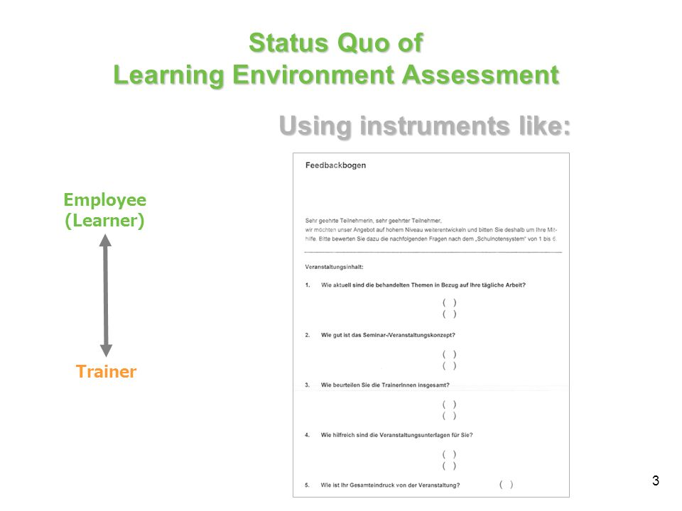 3 Status Quo of Learning Environment Assessment Employee (Learner) Trainer Using instruments like: