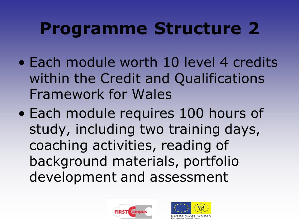 Programme Structure 2 Each module worth 10 level 4 credits within the Credit and Qualifications Framework for Wales Each module requires 100 hours of