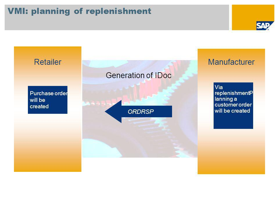 VMI: planning of replenishment Retailer Generation of IDoc Via replenishmentP lanning a customer order will be created Manufacturer ORDRSP Purchase or