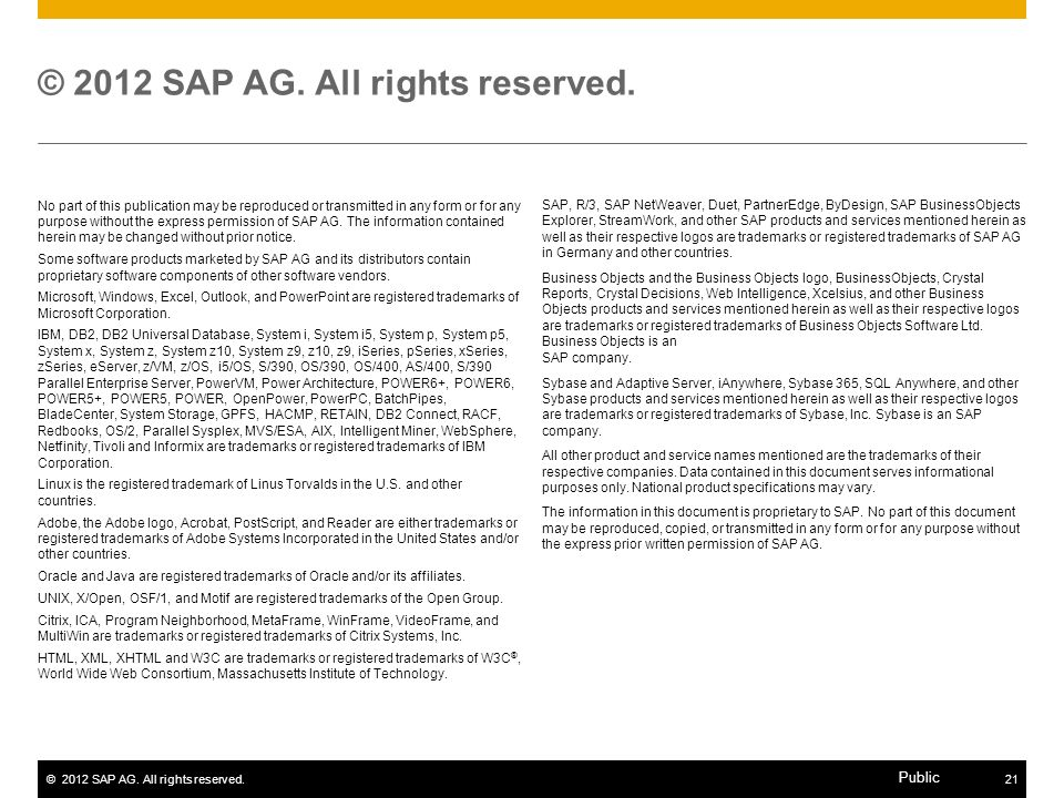 ©2012 SAP AG. All rights reserved.21 Public No part of this publication may be reproduced or transmitted in any form or for any purpose without the ex