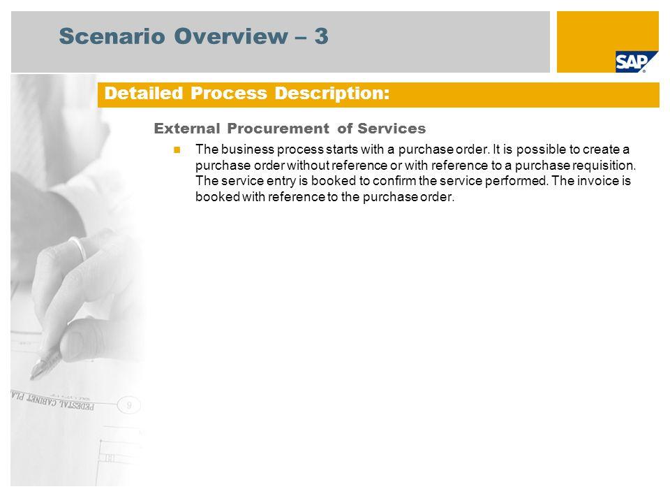Procurement Process Sap Scenario Overview 3 External Procurement of Services The Business Process