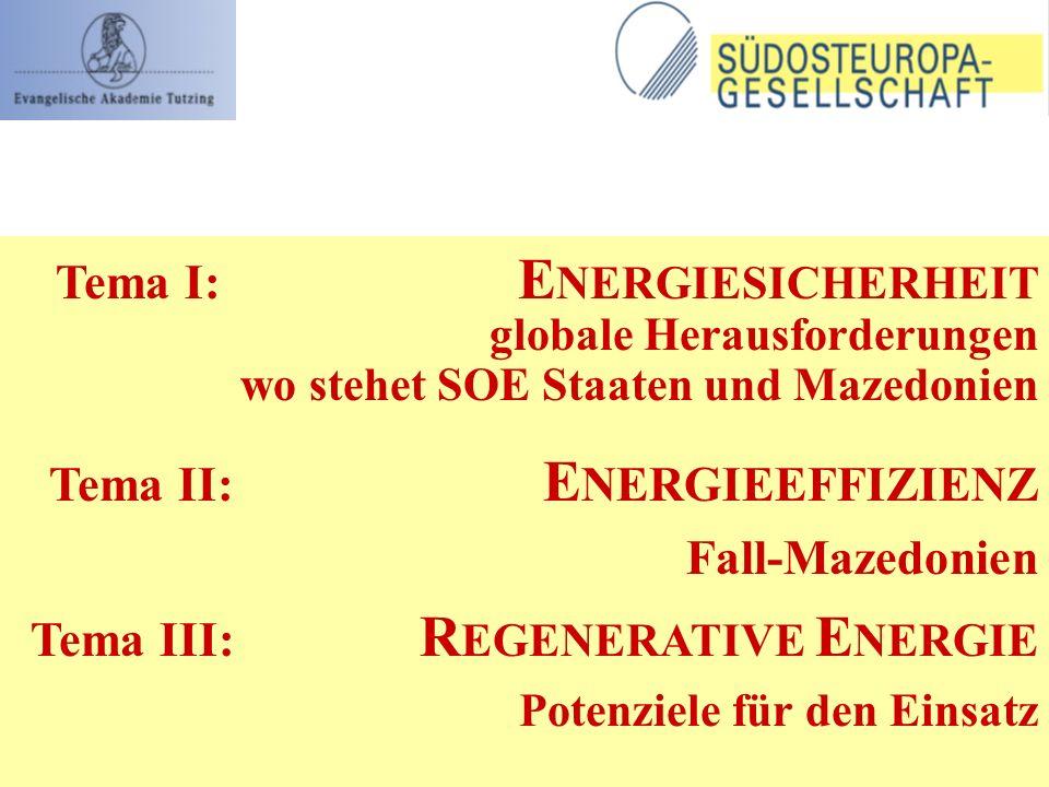 Tema I: E NERGIESICHERHEIT globale Herausforderungen wo stehet SOE Staaten und Mazedonien Tema II: E NERGIEEFFIZIENZ Fall-Mazedonien Tema III: R EGENE