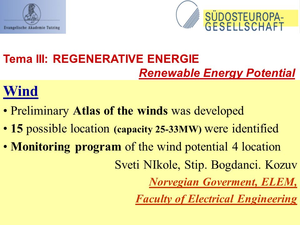 Wind Preliminary Atlas of the winds was developed 15 possible location (capacity 25-33MW) were identified Monitoring program of the wind potential 4 location Sveti NIkole, Stip.