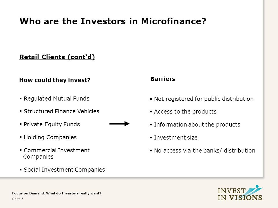 Focus on Demand: What do Investors really want. Seite 8 Who are the Investors in Microfinance.