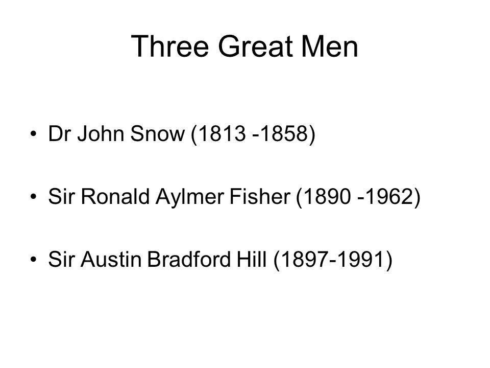 Three Great Men Dr John Snow (1813 -1858) Sir Ronald Aylmer Fisher (1890 -1962) Sir Austin Bradford Hill (1897-1991)