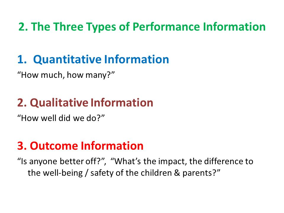 2.The Three Types of Performance Information 1.Quantitative Information How much, how many.