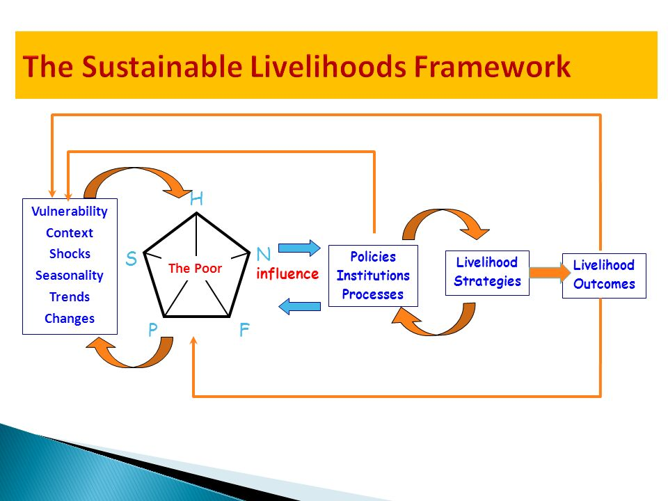 Policies Institutions Processes N S F P H The Poor Vulnerability Context Shocks Seasonality Trends Changes influence Livelihood Strategies Livelihood