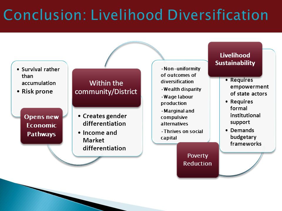 Conclusion: Livelihood Diversification Survival rather than accumulation Risk prone Opens new Economic Pathways Creates gender differentiation Income