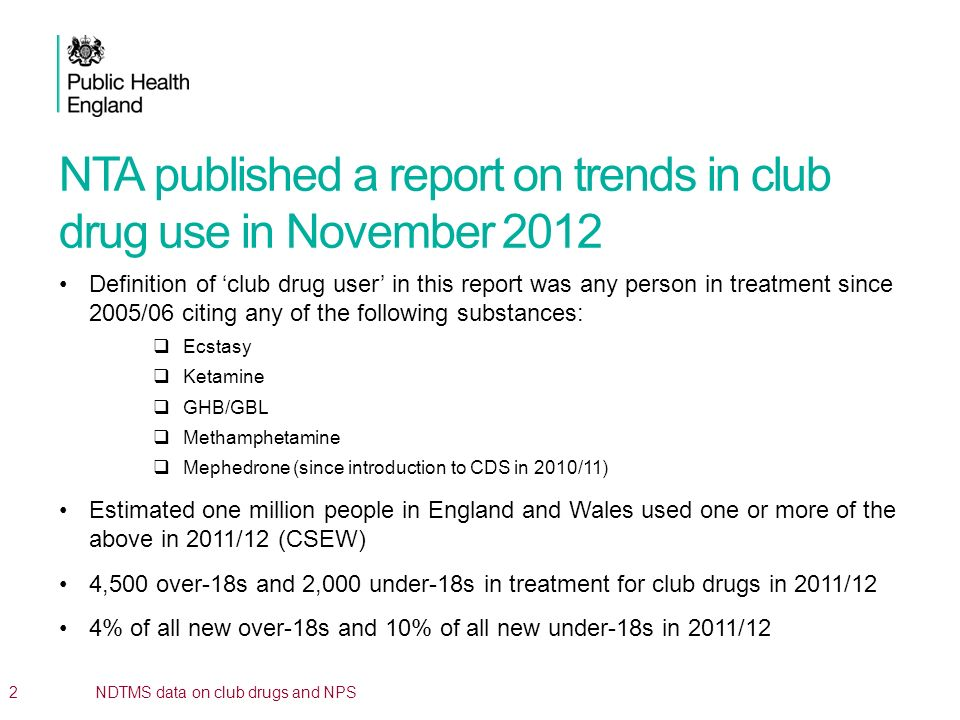 NTA published a report on trends in club drug use in November 2012 General increasing trend, driven by increasing ketamine presentations and introduction of mephedrone.