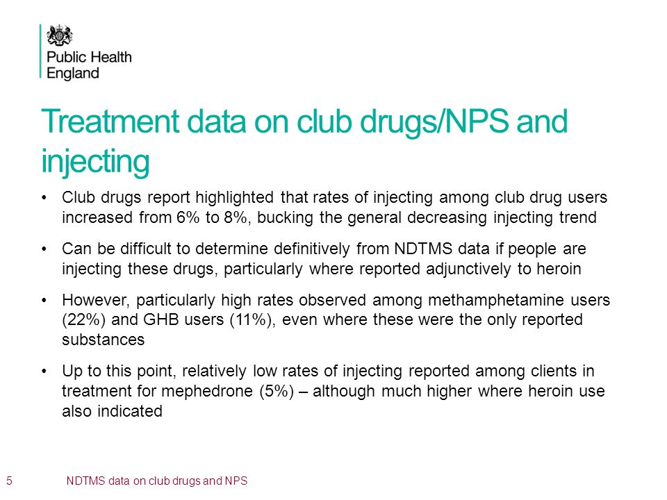 Treatment data on club drugs/NPS and injecting Club drugs report highlighted that rates of injecting among club drug users increased from 6% to 8%, bu