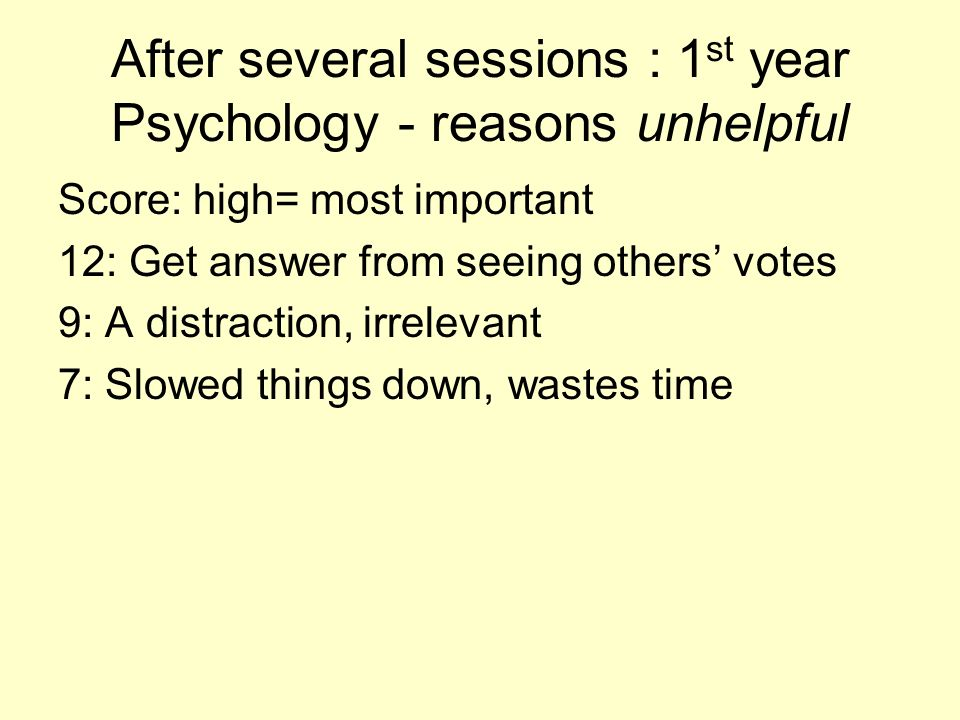 1 st year Psychology after several sessions: reasons cubes are helpful Score: high= most important 12. Gave me feedback on my understanding 12. It was
