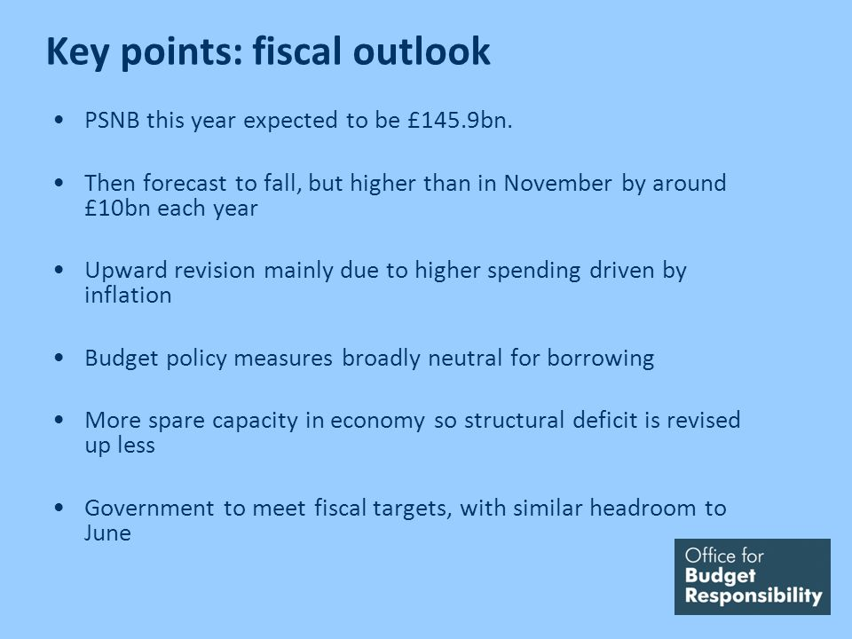 Key points: fiscal outlook PSNB this year expected to be £145.9bn. Then forecast to fall, but higher than in November by around £10bn each year Upward
