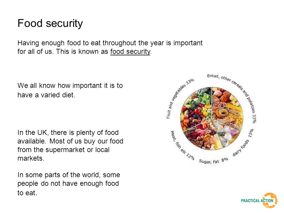 Having enough food to eat throughout the year is important for all of us. This is known as food security. We all know how important it is to have a va