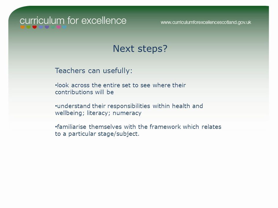 Next steps? Teachers can usefully: look across the entire set to see where their contributions will be understand their responsibilities within health
