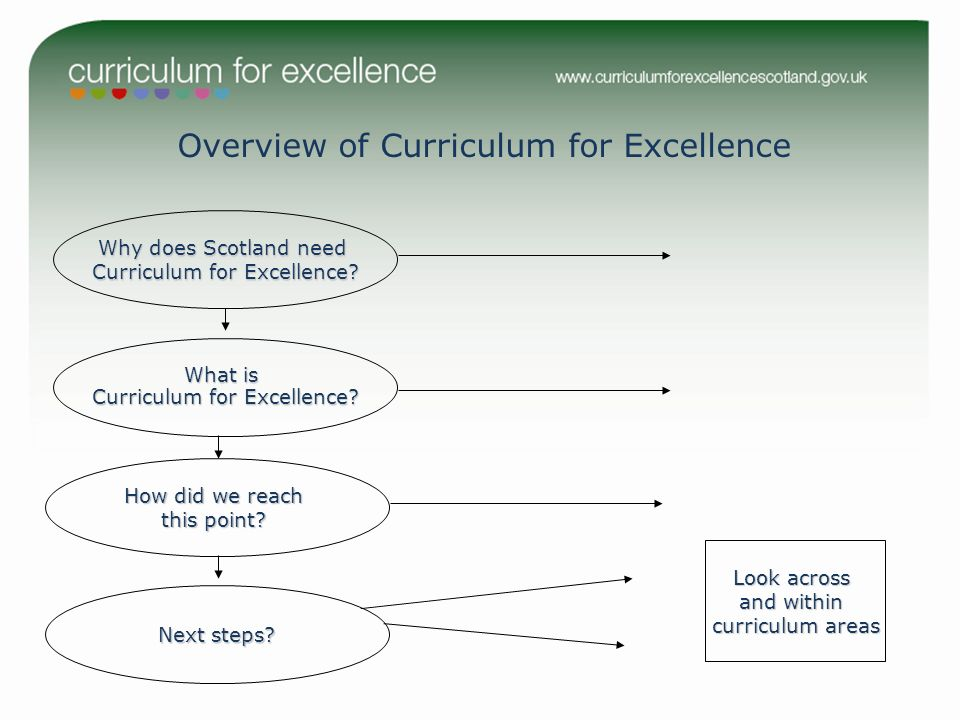 Overview of Curriculum for Excellence Why does Scotland need Curriculum for Excellence? What is Curriculum for Excellence? How did we reach this point