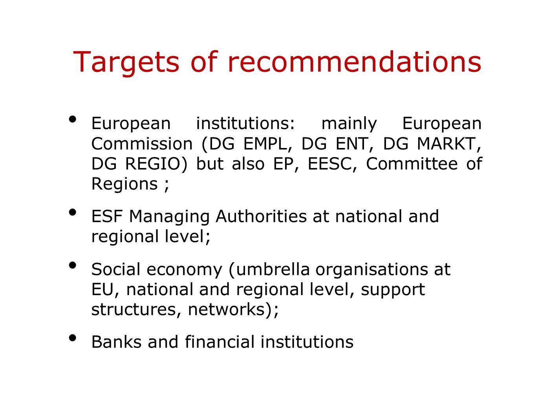 Targets of recommendations European institutions: mainly European Commission (DG EMPL, DG ENT, DG MARKT, DG REGIO) but also EP, EESC, Committee of Reg