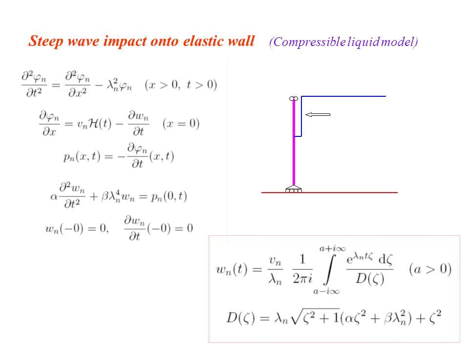 Steep wave impact onto elastic wall (Compressible liquid model)