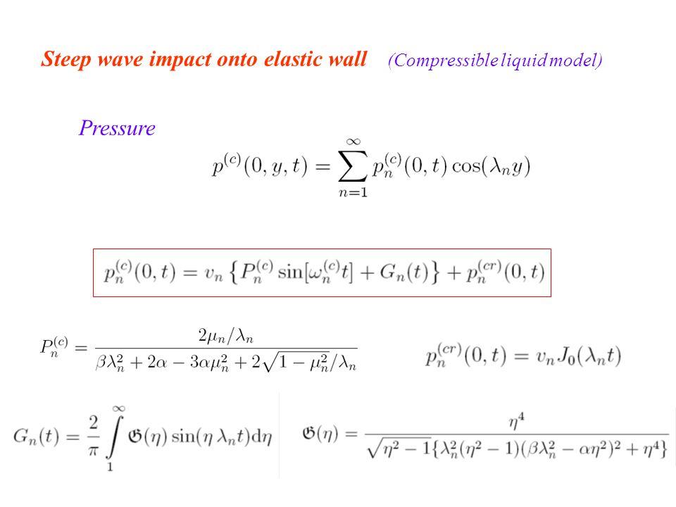 Steep wave impact onto elastic wall (Compressible liquid model) Pressure