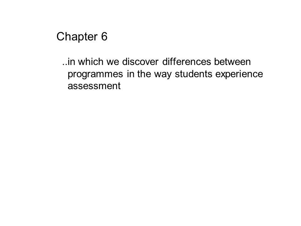 Chapter 6..in which we discover differences between programmes in the way students experience assessment