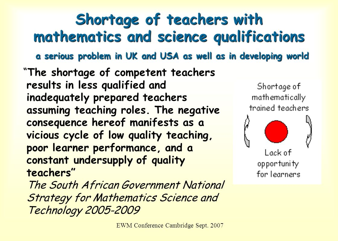 EWM Conference Cambridge Sept. 2007 Shortage of teachers with mathematics and science qualifications a serious problem in UK and USA as well as in dev