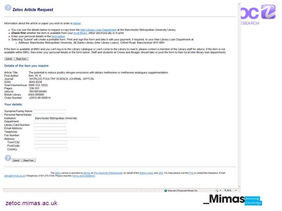 zetoc.mimas.ac.uk ILL customised page