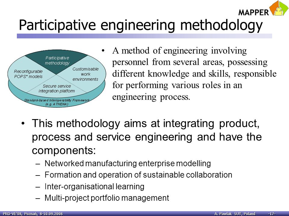 PRO-VE08, Poznań, 8-10.09.2008 A. Pawlak SUT, Poland -17- Participative engineering methodology A method of engineering involving personnel from sever
