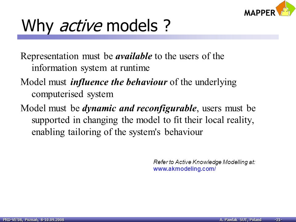 PRO-VE08, Poznań, 8-10.09.2008 A. Pawlak SUT, Poland -21- Why active models ? Representation must be available to the users of the information system