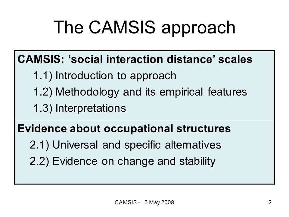 CAMSIS - 13 May 20082 The CAMSIS approach CAMSIS: social interaction distance scales 1.1) Introduction to approach 1.2) Methodology and its empirical