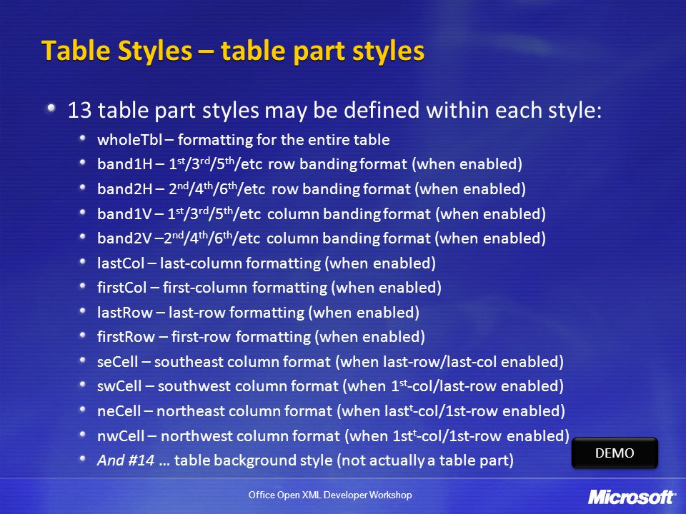 Office Open XML Developer Workshop Table Styles – table part styles 13 table part styles may be defined within each style: wholeTbl – formatting for the entire table band1H – 1 st /3 rd /5 th /etc row banding format (when enabled) band2H – 2 nd /4 th /6 th /etc row banding format (when enabled) band1V – 1 st /3 rd /5 th /etc column banding format (when enabled) band2V –2 nd /4 th /6 th /etc column banding format (when enabled) lastCol – last-column formatting (when enabled) firstCol – first-column formatting (when enabled) lastRow – last-row formatting (when enabled) firstRow – first-row formatting (when enabled) seCell – southeast column format (when last-row/last-col enabled) swCell – southwest column format (when 1 st -col/last-row enabled) neCell – northeast column format (when last t -col/1st-row enabled) nwCell – northwest column format (when 1st t -col/1st-row enabled) And #14 … table background style (not actually a table part) DEMO
