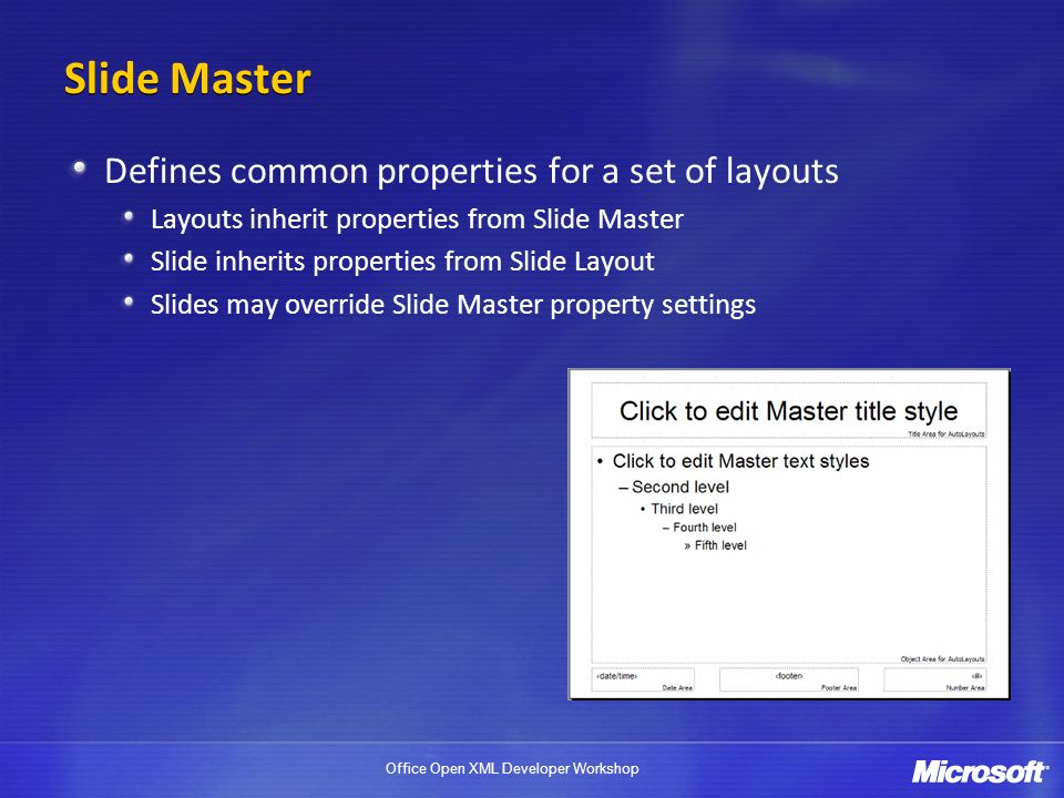 Office Open XML Developer Workshop Slide Master Defines common properties for a set of layouts Layouts inherit properties from Slide Master Slide inherits properties from Slide Layout Slides may override Slide Master property settings