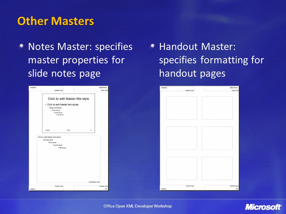 Office Open XML Developer Workshop Other Masters Notes Master: specifies master properties for slide notes page Handout Master: specifies formatting for handout pages