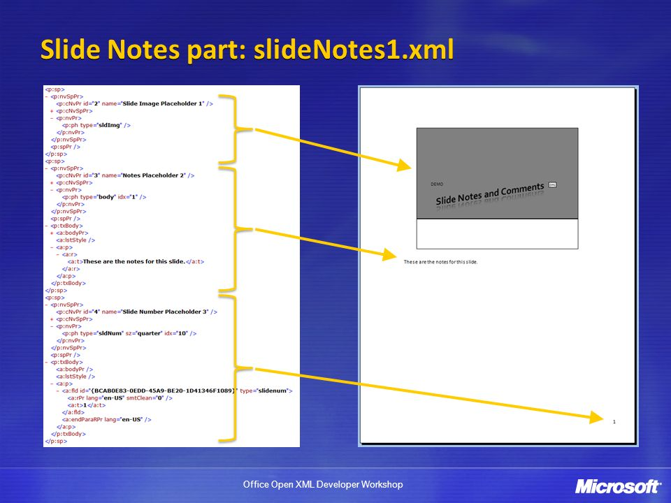 Office Open XML Developer Workshop Slide Notes part: slideNotes1.xml