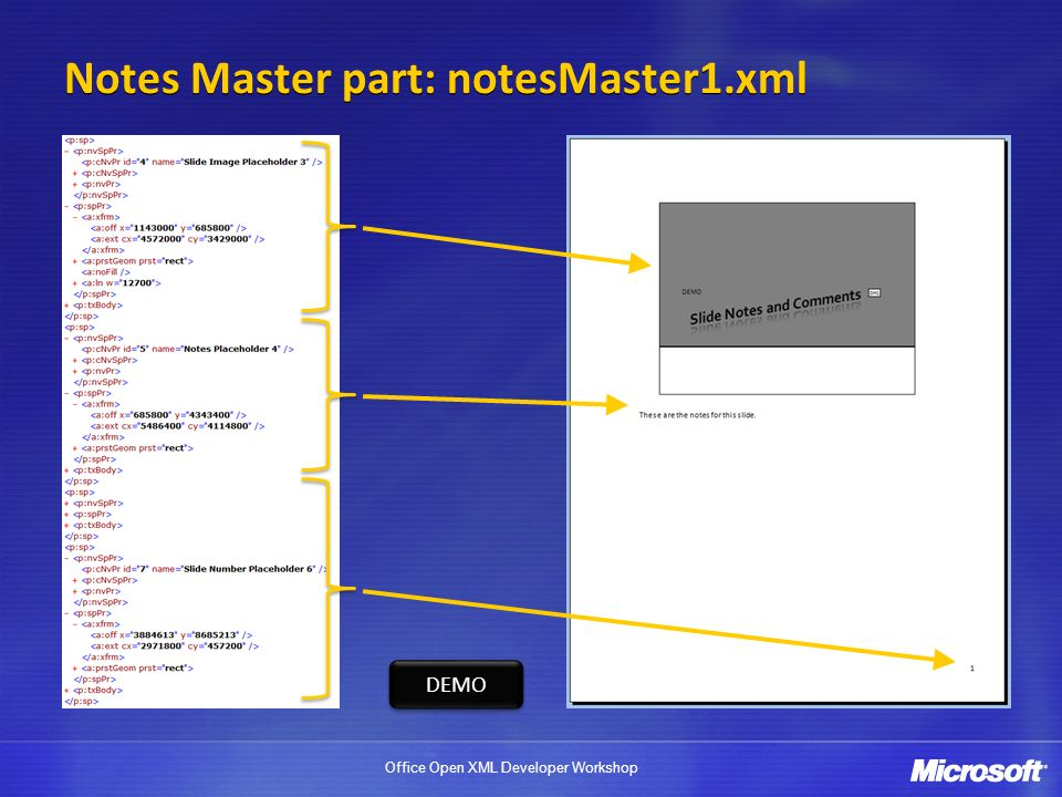 Office Open XML Developer Workshop Notes Master part: notesMaster1.xml DEMO