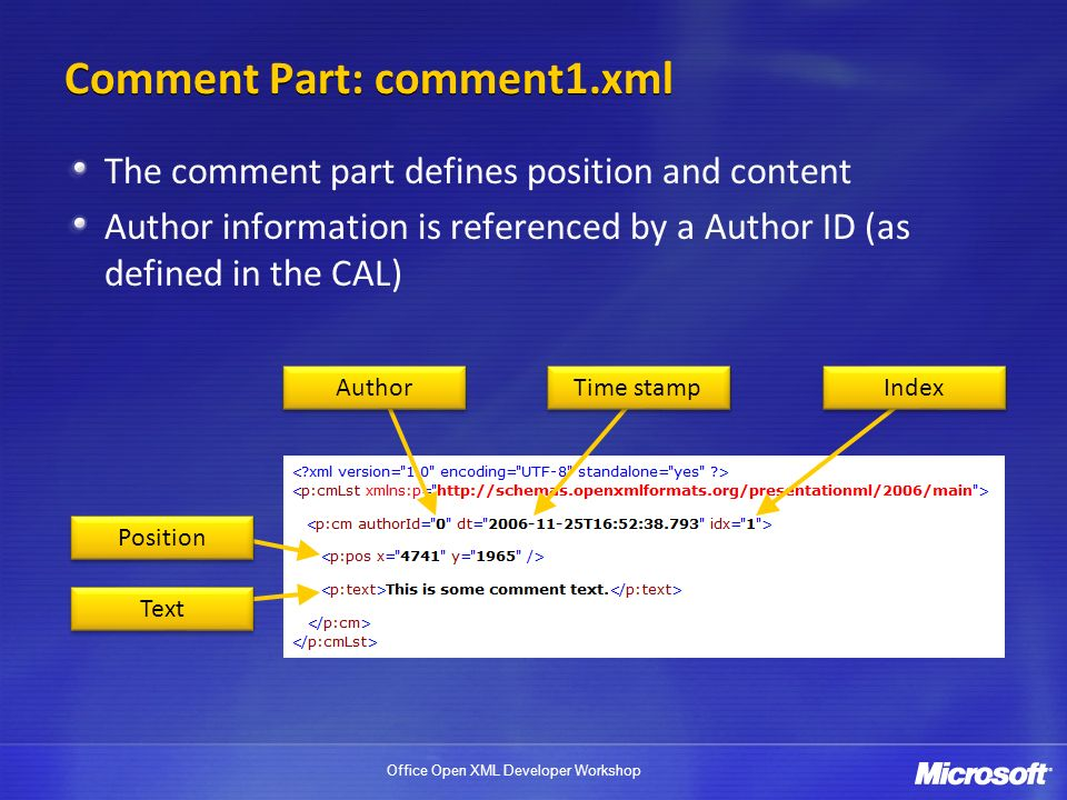 Office Open XML Developer Workshop Comment Part: comment1.xml The comment part defines position and content Author information is referenced by a Author ID (as defined in the CAL) Author Time stamp Index Position Text