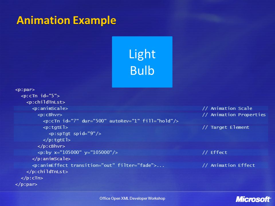 Office Open XML Developer Workshop Animation Example Light Bulb // Animation Scale // Animation Properties // Target Element // Effect...// Animation Effect
