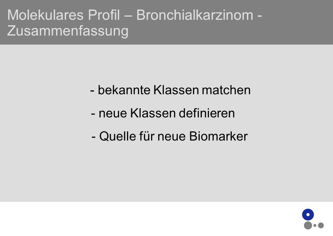 Molekulares Profil – Bronchialkarzinom - Zusammenfassung - bekannte Klassen matchen - neue Klassen definieren - Quelle für neue Biomarker