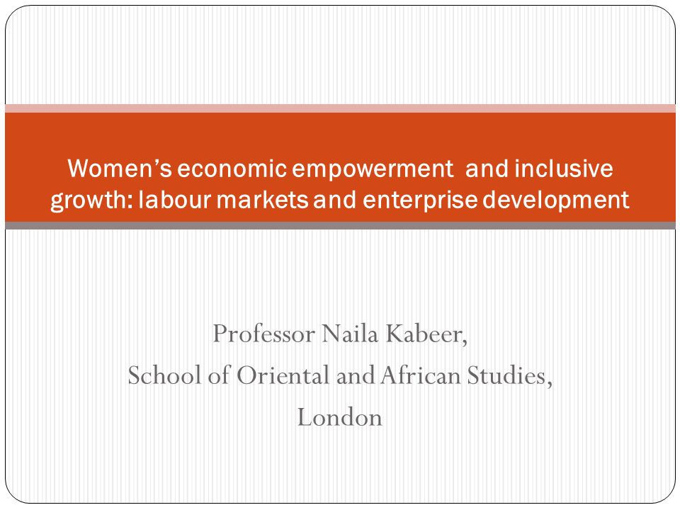 Inclusive growth implies opportunities for, and fruits of, growth widely distributed Rationale for explicit focus on women and girls lies in asymmetrical relationship documented between economic growth and gender equality.