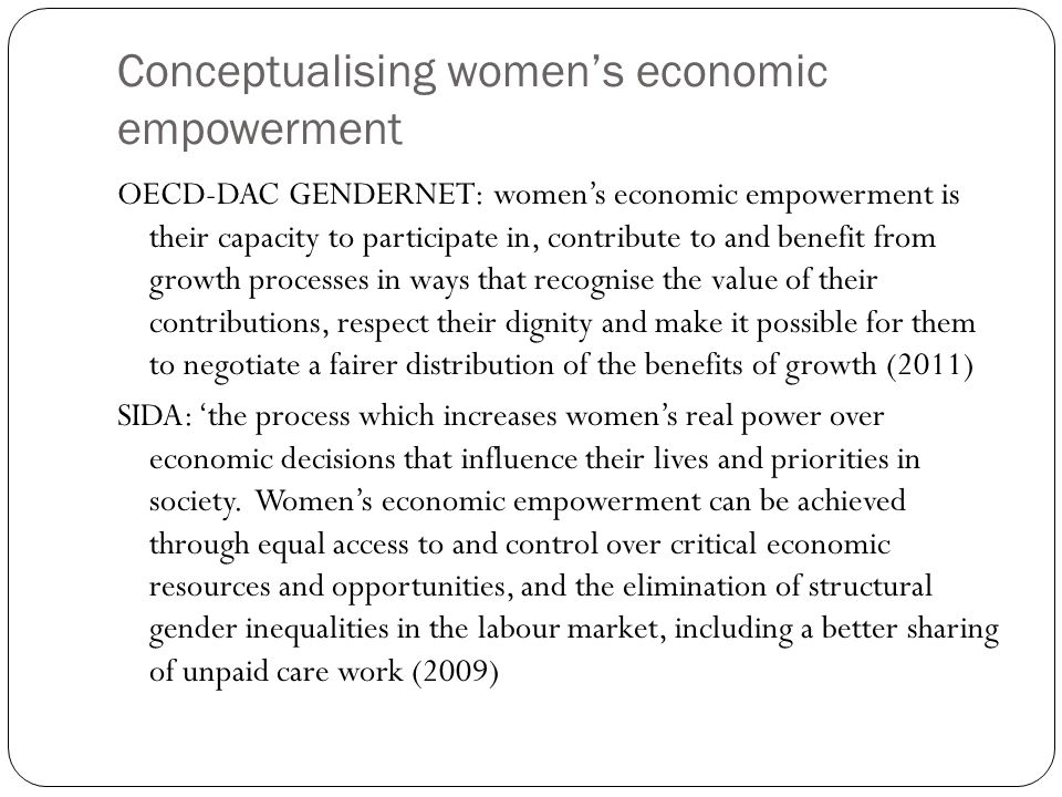 Overlaps and differences Overlapping focus on markets for womens labour On agency and capabilities Differences: Means to achieve valued goals or valued goal in its own right Confined to economic domain or spill-over into other domains of life.