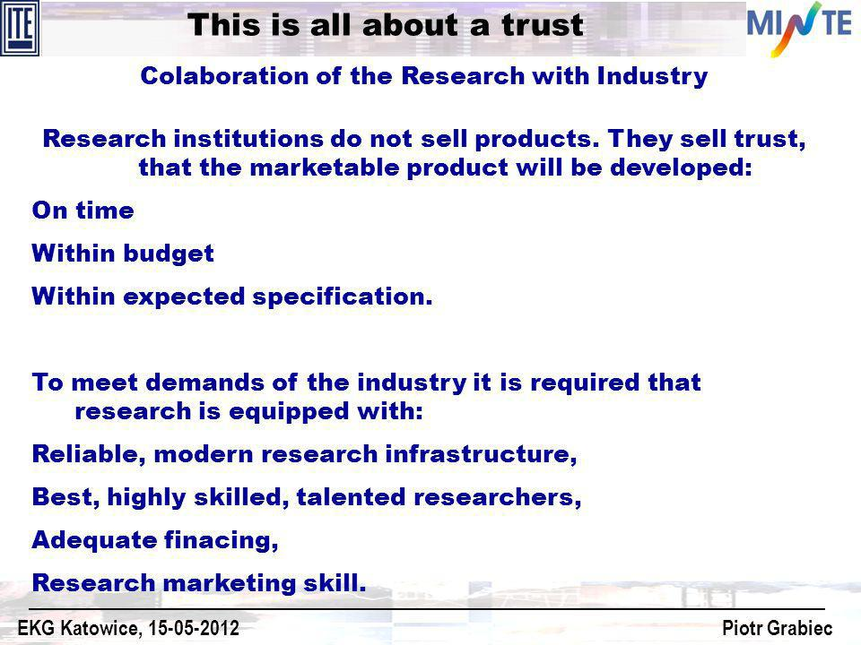 Colaboration of the Research with Industry Research institutions do not sell products. They sell trust, that the marketable product will be developed:
