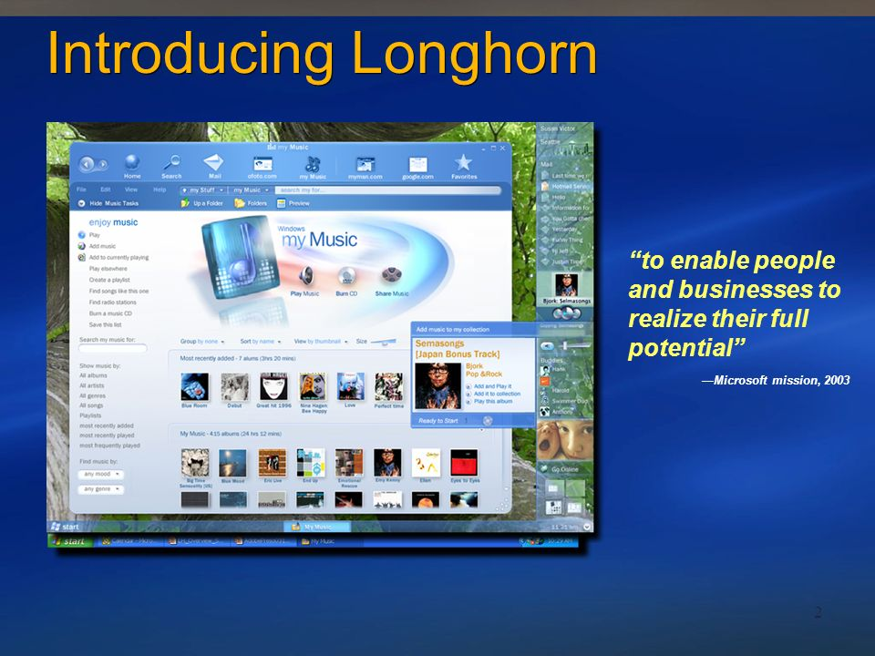 2 Introducing Longhorn to enable people and businesses to realize their full potential Microsoft mission, 2003