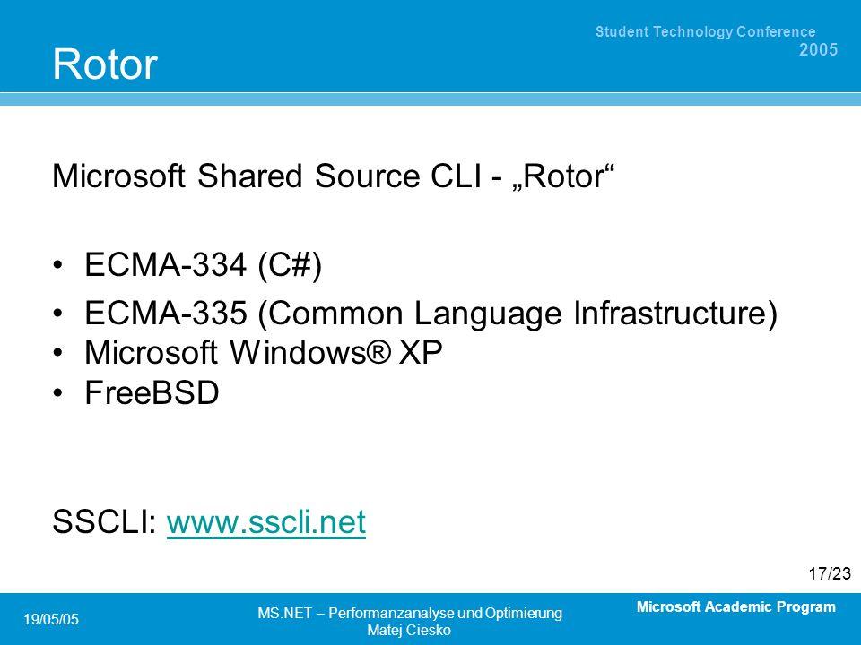 Microsoft Academic Program Student Technology Conference 2005 19/05/05 MS.NET – Performanzanalyse und Optimierung Matej Ciesko 17/23 Rotor Microsoft Shared Source CLI - Rotor ECMA-334 (C#) ECMA-335 (Common Language Infrastructure) Microsoft Windows® XP FreeBSD SSCLI: www.sscli.netwww.sscli.net