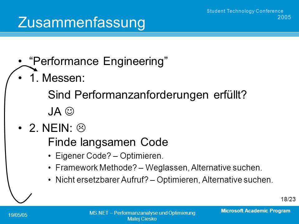 Microsoft Academic Program Student Technology Conference 2005 19/05/05 MS.NET – Performanzanalyse und Optimierung Matej Ciesko 18/23 Zusammenfassung Performance Engineering 1.