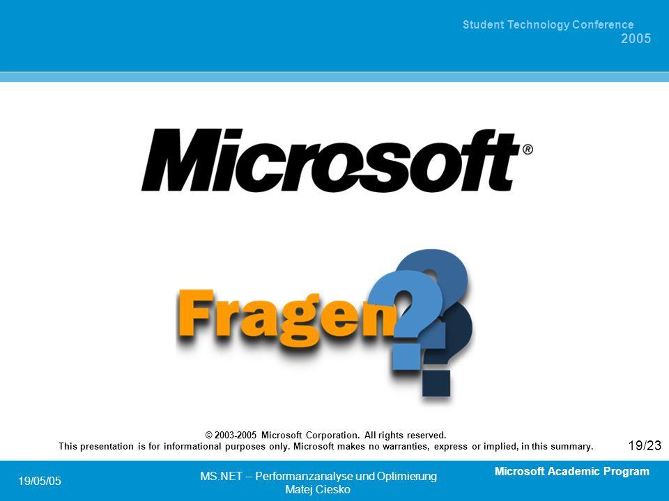 Microsoft Academic Program Student Technology Conference 2005 19/05/05 MS.NET – Performanzanalyse und Optimierung Matej Ciesko 19/23 © 2003-2005 Microsoft Corporation.