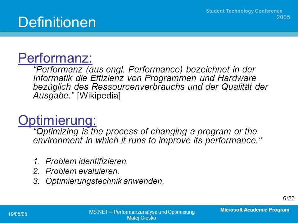Microsoft Academic Program Student Technology Conference 2005 19/05/05 MS.NET – Performanzanalyse und Optimierung Matej Ciesko 6/23 Definitionen Performanz: Performanz (aus engl.