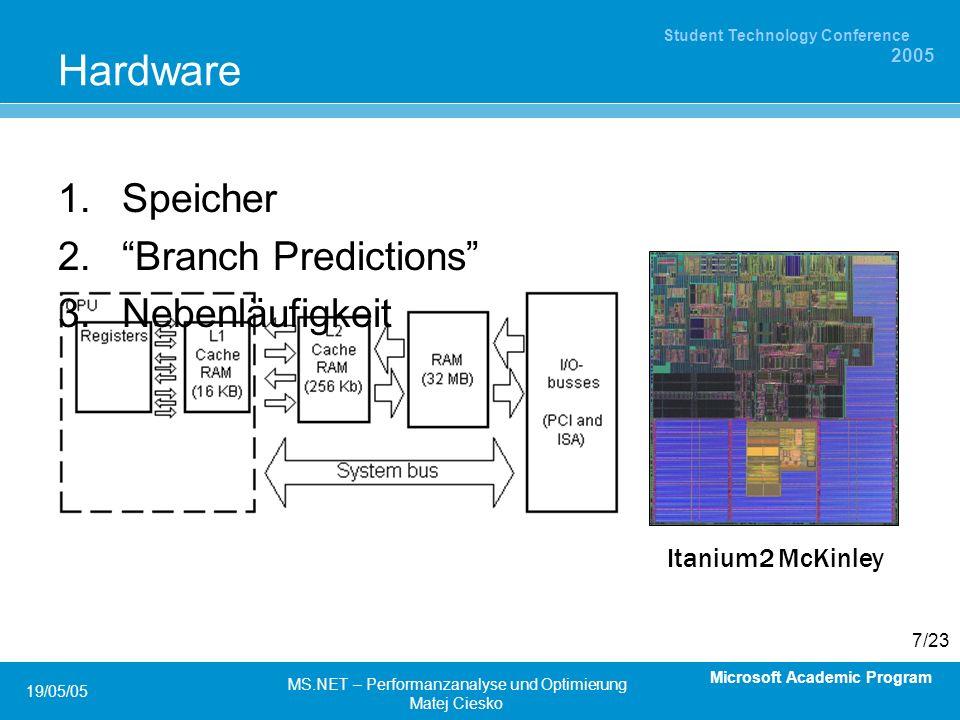 Microsoft Academic Program Student Technology Conference 2005 19/05/05 MS.NET – Performanzanalyse und Optimierung Matej Ciesko 7/23 Hardware Speicher Branch Predictions Nebenläufigkeit Itanium2 McKinley