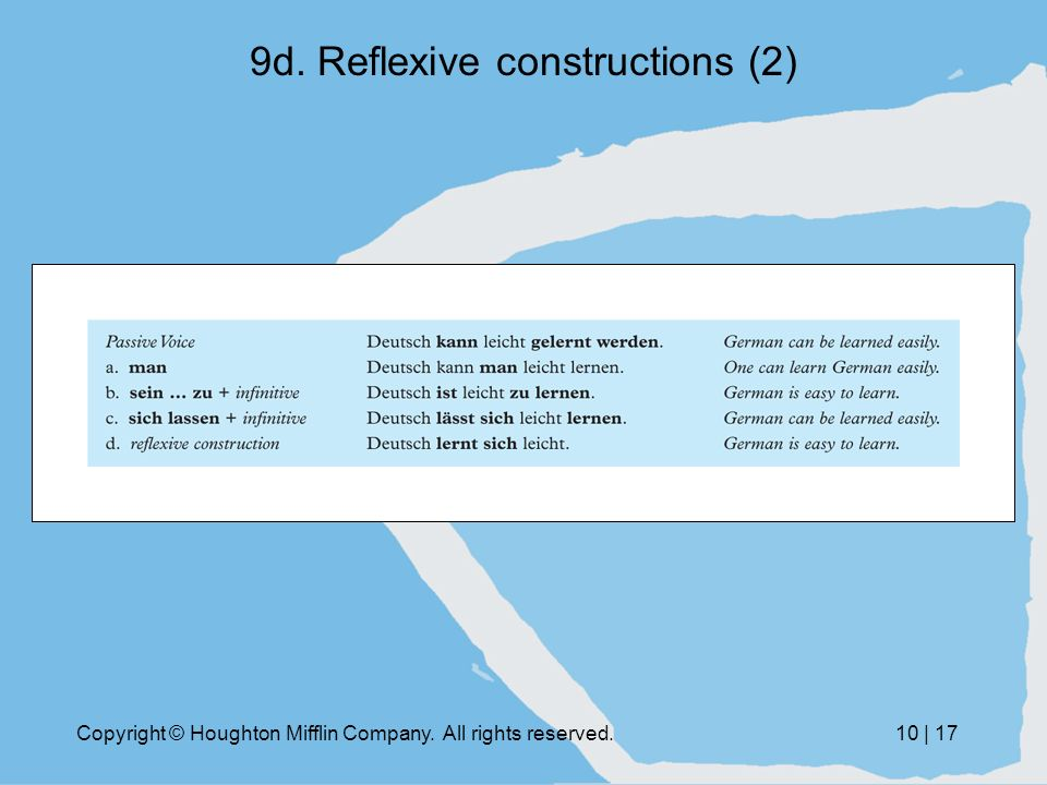 Copyright © Houghton Mifflin Company. All rights reserved.10 | 17 9d. Reflexive constructions (2)