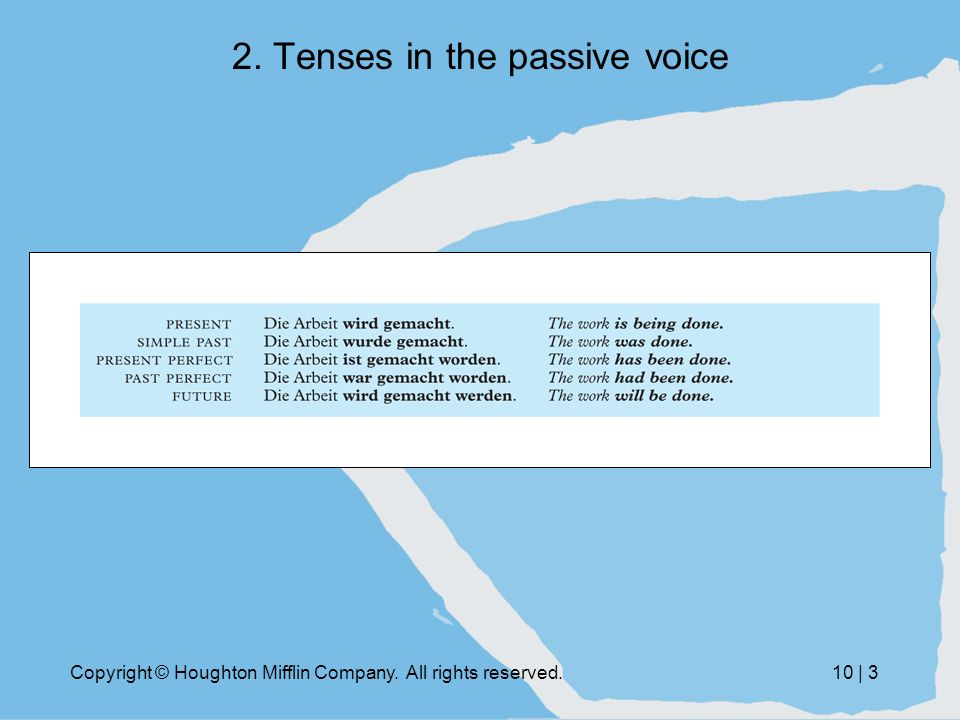 Copyright © Houghton Mifflin Company. All rights reserved.10 | 3 2. Tenses in the passive voice