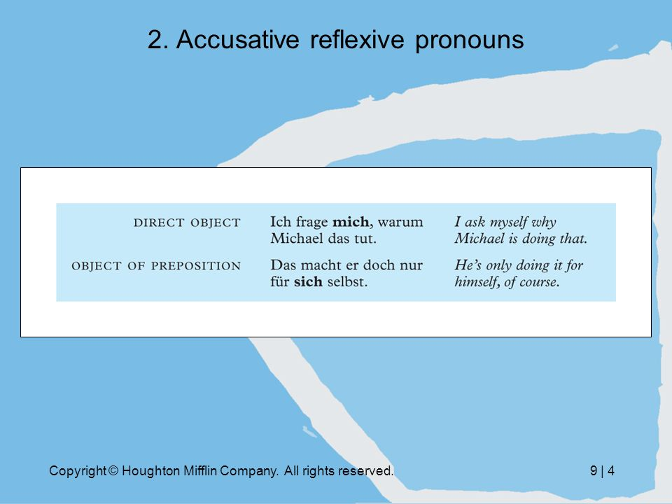 Copyright © Houghton Mifflin Company. All rights reserved.9 | 4 2. Accusative reflexive pronouns